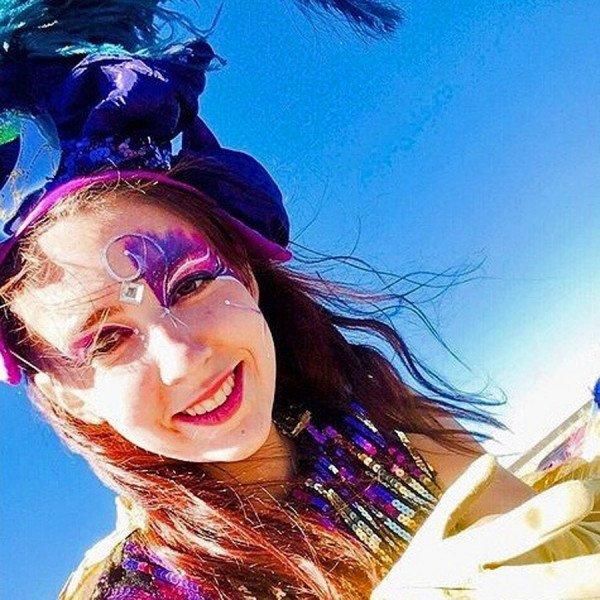 Circus Performer costumed for Mardi Gras